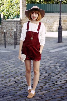 Burgundy playsuit! (I would lose the white peeping socks... bring outs toddler associations, in my honest opinion)