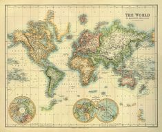 """World map - Old map restored - 30 x 24.5 """" -Print"""
