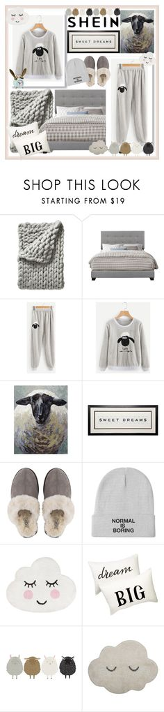 """Counting sheeps"" by lukretiak ❤ liked on Polyvore featuring Serena & Lily, UGG, Nordstrom Rack, Bloomingville and PBteen"