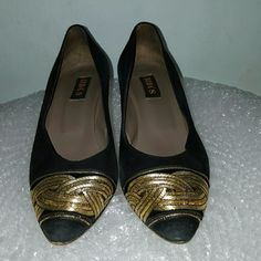 Vintage BIBA suede gold embroidered pumps Very classy vintage heel by BIBA'S. Hard to find indeed. Toe is capped with golden embroidery that brings that pair to life. Semi-cone heels are 2.5 inch. Signs of normal wear. Black suede upper. I am listing it AS IS since this item is clearly vintage and has been worn (with love!!!!) BIBA'S Shoes Heels