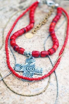 Long Bohemian Red Coral, Brass and Silver Cross Pendant Layered Necklace Long Pendant Necklace, Beaded Necklace, Women's Necklaces, Tribal Necklace, Layered Necklace, African Beads Necklace, Gold And Silver Bracelets, Silver Rings, Red Jewelry