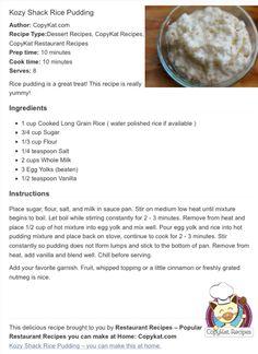 Amend 1.5 c. Rice & 1/3 c. Sugar — read comments on website copykat.com - #Copycat #KozyShack #RicePudding
