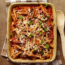 Image of  Baked Penne with Turkey, Mushroom, and Roasted Pepper Ragu