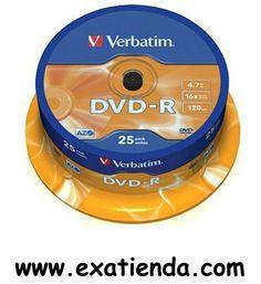 Ya disponible Dvd Verbatim 25 unds 16x 4.7gb r   (por sólo 14.95 € IVA incluído):   -El DVD-R es un disco grabable con 4,7 GB de capacidad. Cumple con las especificaciones del DVD-Forum. -Capa de grabación AZO. -El más alto nivel de estabilidad de grabación. -Excelente vida de archivado.  -Este disco presenta una superficie en color plata mate. Puede escribirse en él utilizando un rotulador para CD/DVD.  -Referencia: 43522 -Capacidad: 4.7GB -Velocidad: 16x -Presentaci