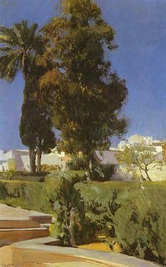Joaquín Sorolla y Bastida (1863-1923) - Jardines del Alcaz (Gardens of Alcazar, Seville, Spain). Oil on Canvas. Circa 1910. 95cm x 63.5cm.