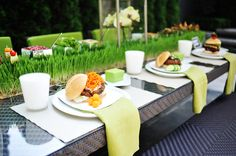 Wheat grass table runner. Outdoor entertaining at it's best!