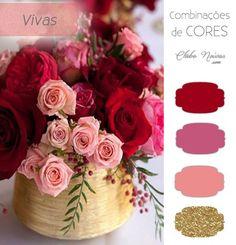 Combinação de Cores Vivas Para Decoração - Dois Tons de Rosa, Vermelho e Dourado