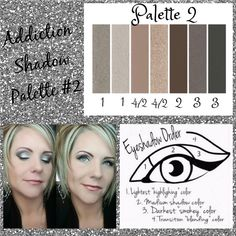 Palette #2 with Eyeshadow Order Guide! Take it from serene to extreme with seven crease-resistant, fade-resistant, long-wearing, buildable colors! Now available in 5 amazing color palettes! #Addiction12345 #ClickImageToShop #Questions #EmailMe sarahandbrianyounique@gmail.com or comment below