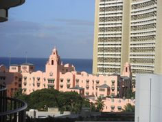 The Royal Hawaiian Hotel is a beachfront luxury hotel located on Waikīkī Beach in Honolulu, Hawai'i on the island of O'ahu and is one of the first hotels established in Waikiki.
