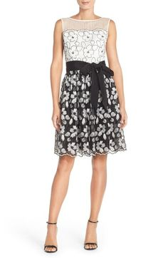 Ellen Tracy Floral Lace Overlay Fit & Flare Dress with Illusion Neckline available at #Nordstrom
