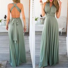 Sage Green Backless Self-tie Bandage Plunging Neckline Sexy Multiway Maxi Bridesmaid Dress