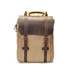 """Vintage Canvas Leather Laptop up to 5.6"""" Casual Daypacks Backpack"""