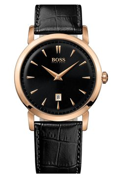 Love the Boss Hugo Boss BOSS HUGO BOSS Round Leather Strap Watch, 40mm on Wantering | Gifts for Him | mens watch | mens jewelry | menswear | mens style | mens fashion | wantering http://www.wantering.com/mens-clothing-item/boss-hugo-boss-round-leather-strap-watch-40mm/abnrO/