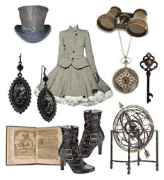 """""""Steampunk4"""" by shadowed-eyes ❤ liked on Polyvore featuring moda, Jean-Paul Gaultier, 1928, victorian, steampunk, ruffles, old fashioned, top hat, pretty y brass"""