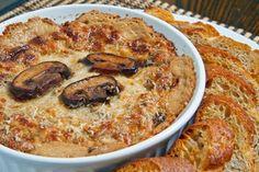 Hot Cheesy Mushroom Dip with Garlic, Sour Cream, Cream Cheese, Mozzarella, White Wine, and Parmigiano Reggiano