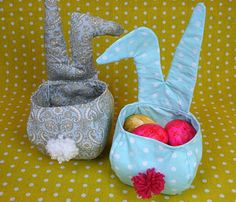 Sewing instructions Fabric basket Sew Easter basket with bunny - ostern - Crafts Fabric Crafts, Sewing Crafts, Diy And Crafts, Crafts For Kids, Fabric Basket Tutorial, Mermaid Invitations, Clothes Basket, Diy Hair Accessories, Easter Baskets
