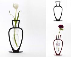 Take the essentially two-dimensional Pimavera Vase, for instance – simply drop in your old bottle and voila, you have a neat receptacle for a single perfect flower. Old Bottles, Vintage Bottles, Plastic Bottles, Vintage Perfume, Glass Bottles, Perfume Bottles, Reuse Old Tires, Reuse Recycle, Pot Plante