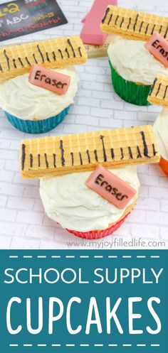 Super easy and super cute back to school cupcakes Best Picture For School Celebration elementary For School Cupcakes, School Cake, Kid Cupcakes, School Treats, After School Snacks, School School, School Lunch, School Stuff, Back To School Party