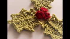 Here's another cute little crochet project for you to try out this festive season. As usual there is a You Tube tutorial on the Crafty Little Things UK channel Crochet Leaves, Holly Leaf, Christmas Items, Jingle Bells, Crochet Projects, Garland, Berries, Projects To Try, Crochet Patterns