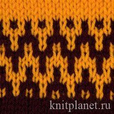 Двухцветный узор № 6 - Ленивый узор спицами (ленивый жаккард), хорош для красивого перехода от одного цвета к другому, например при вязании кокеток