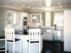 Perfect kitchen layout - G-layout, complete utilisation of available space. Heart the high chairs.
