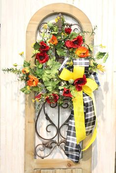 Poppy Wreath for Spring with a Bow