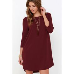 BB Dakota Devin Burgundy Shift Dress ($79) ❤ liked on Polyvore featuring dresses, red, 3/4 sleeve shift dress, red shift dress, three quarter sleeve dress, short front long back dress and burgundy high low dress