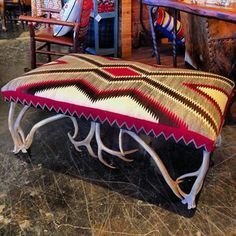 A custom antler ottoman/bench, covered with a vintage Navajo rug. At Anteks Home Furnishings in Dallas. Western Furniture, Cool Furniture, Western Decor, Country Decor, Native American Decor, Ranch Decor, Southwest Decor, Log Cabin Homes, Western Homes
