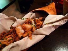 Dans les Landes tapas restaurant in Paris. Everything I tried was fabulous, especially these fried baby calamari!