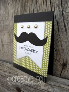 My Spin on the Pin...Mustache birthday card