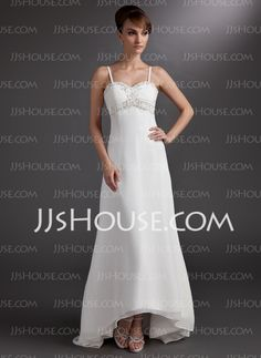 A-Line/Princess Sweetheart Asymmetrical Chiffon Wedding Dress With Lace Beadwork (002012887) - JJsHouse