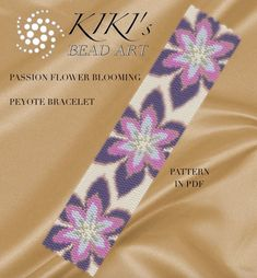 Pattern, peyote bracelet - Passion flower blooming peyote bracelet pattern in PDF - instant download