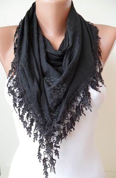 Black Scarf with Black Trim Edge  Black Leopard by SwedishShop, $15.90