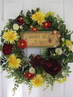 Summer Sale- GATHER FLOWERS Country Zinnias Summer Wreaths- Free Shipping