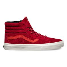 Inspired by a popular Golden Monkey stamp commemorating the Chinese New Year, the YOM Sk8-Hi Reissue, the legendary Vans high top reissued with a vintage sensibility, celebrates the Year of the Monkey with red suede and leather uppers that embody the monkey's energetic, curious spirit. The Sk8-Hi Reissue also features re-enforced toecaps to withstand repeated wear, signature rubber waffle outsoles, and padded collars for support and flexibility.