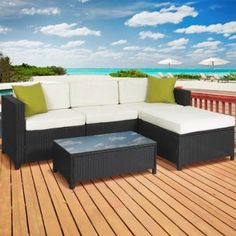 5PC Rattan Wicker Sofa Set Cushioned Sectional Outdoor Garden Furniture Patio Deck Backyard Couch