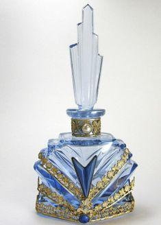All Blue Jeweled Czech Perfume Bottle by cristina