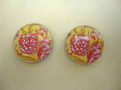 "Lilly Pulitzer, Chi Omega Sorority fabric pattern, 3/4"" stud earrings. $9.00, via Etsy."