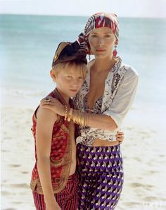 Lucie with her son   Taara bracelets featured in Vogue