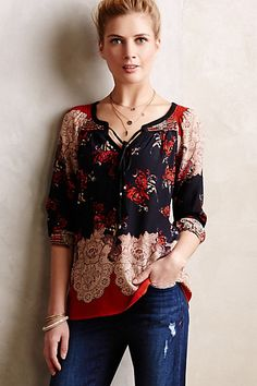 Blossomed Silk Peasant Top #anthropologie  Wonderful colors, comfortable cut. V-cut necklines are flattering on me.