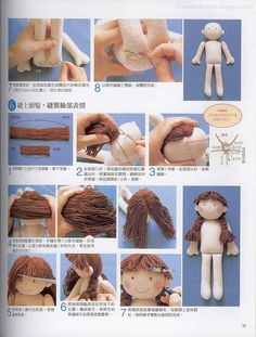Not in English, but a picture speaks 1000 words. The content for you if you like fabric dolls fabricdolls how to waldorf doll hair mohair wigMimin Dolls, pictoral on hairrag doll hair tutorial/ coser pelo a muñecajacket for dolls diyPin doesn& link Doll Crafts, Diy Doll, Homemade Dolls, Doll Tutorial, Photo Tutorial, Sewing Dolls, Waldorf Dolls, Doll Hair, Soft Dolls