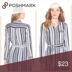 "WHBM shirt ❤️ Wide and narrow navy stripes accent this button-down shirt in a modern, elongated silhouette. Has a belt and high-low hem so it looks incredible with skinny jeans or slim-leg pants. I wore it over tank top n shorts combo and it looked really nice! Worn just once and is in excellent condition! ✅Long stripe  ✅Polyester. Machine wash, cold. ✅Approx. 33.4"" from shoulder. ✅Runs loose so will fit size 6 as well (S or M) ❌no trades ❌ White House Black Market Tops Button Down Shirts"