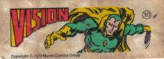 Vision - Figurinhas da Marvel no chiclete - Anos 80