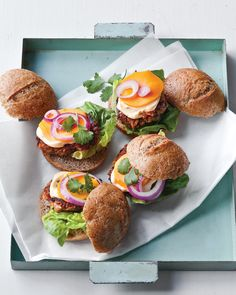 These mini bean-and-veggie burgers take inspiration from Vietnamese banh mi sandwiches. Blended beans and rice are the basis of these sliders, which are supercharged with grated carrots, broccoli, and ginger. Top them with cilantro and sliced mango for the brightest burgers ever.