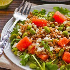 Clean & filling farro salad with edamame, watermelon, arugula & honey basil vinaigrette.