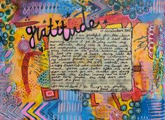 Gratitude art journal page by Zoe Ford