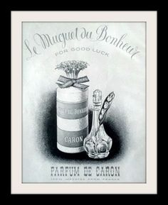 "An original 1953 Caron perfume advertisement. A black and white artistic print detailing the classic bottle and a flower lily pod. Simple and elegant ...LE MUGUET DU BONHEUR. ""For good luck"" -1953 Car"