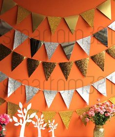High quality glitter bunting for your party or celebration! The Chunky Glitter flags have larger pieces of glitter. Gold and Silver Glitter are glitter on one side, shiny on the other. Glitter flags are covered in a layer of fine glitter. | eBay!