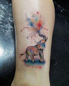 New Tattoo Watercolor Elephant Colour Ideas Watercolor Elephant Tattoos, Colorful Elephant Tattoo, Elephant Colour, Watercolor Tattoo, Watercolor Water, Watercolor Animals, Sister Tattoos, Dog Tattoos, Animal Tattoos