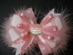 Large Birthday Party Cake Pink Princess Hair Bow Over the Top stacked